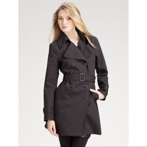 Theory Alexia Navy Blue Belted Light Trench Coat